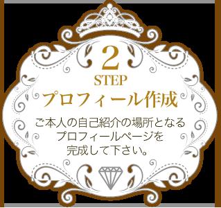 STEP2 プロフィール作成 ご本人の自己紹介の場所となるプロフィールページを作成致します。